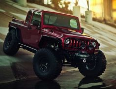 VWerks Red Jacket Jeep Based on a Jeep Wrangler Unlimited, VWerks… Cool Jeeps, Cool Trucks, Cool Cars, Cheap Jeeps, 4x4 Trucks, Diesel Trucks, Jeep Pickup, Jeep Truck, Jeep Wrangler Pickup