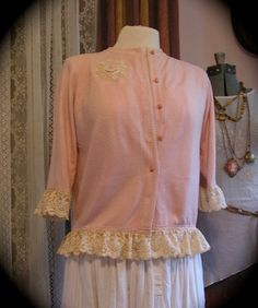 Romantic Soft Pink Sweater, alter couture piece with ruffled lace by TatteredDelicates