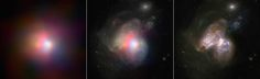A new high-energy X-ray image from NASA's Nuclear Spectroscopic Telescope Array, or NuSTAR, has pinpointed the true monster of a galactic mashup. The image shows two colliding galaxies, collectively called Arp 299, located 134 million light-years away. Each of the galaxies has a supermassive black hole at its heart.  NuSTAR has revealed that the black hole located at the right of the pair is actively gorging on gas, while its partner is either dormant or hidden under gas and dust.