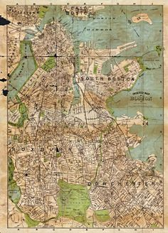 boston antique maps wall art
