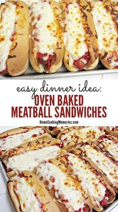 This oven-baked meatball sandwich recipe is a perfect easy dinner idea for busy days. Also great for large groups, game day, or as an on-the-go meal. dinner recipes for family Easy Dinner Idea: Oven Baked Meatball Sandwiches Recipe Oven Baked Meatballs, Meatballs In Crock Pot, Dinner With Meatballs, Recipes With Meatballs, Oven Baked Burgers, Making Meatballs, Oven Baked Tacos, How To Cook Meatballs, Spaghetti And Meatballs
