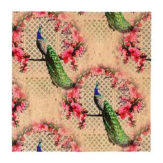 http://www.zazzle.com.au/peacock_cherry_blossoms_and_lattice-256109378023860370?rf=238523064604734277 Peacock Cherry Blossoms And Lattice Cork Coaster Set - This set of four cork coasters features a peacock perching on a cherry blossom branch in front of a lattice wall.