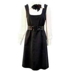 Preowned Geoffrey Beene Boutique Black And Cream Satin Dolly Dress,... ($895) ❤ liked on Polyvore featuring dresses, 1960s, vintage, day dresses, white, vintage retro dresses, retro cocktail dresses, cream dress, white sleeve dress and vintage dresses