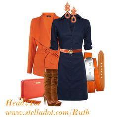 Orange and Navy w/wrap watch - Polyvore
