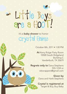 Cute Owl Themed Baby Shower Invitations  Boy or Girl by Whirlibird, $12.99#Repin By:Pinterest++ for iPad#