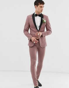 Browse online for the newest ASOS DESIGN wedding super skinny tuxedo suit jacket in mauve styles. Shop easier with ASOS' multiple payments and return options (Ts&Cs apply). Men's Tuxedo Wedding, Wedding Men, Wedding Suits, Wedding Attire, Wedding Tuxedos, Tuxedo Suit, Tuxedo For Men, Gay Men Weddings, Romantic Weddings