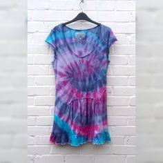 Tie Dye Hippie Dress Summer Aqua Pink & Purple to fit UK size 14 or US size 10 Beach Boho Hippy Wedding Bohemian by AbiDashery on Etsy