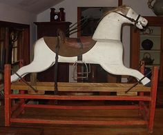 Vintage Wood Rocking Horse Hand Made France Large  - mine was dapple grey with a red wooden structure...want!