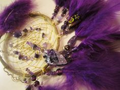 Horse Dancer's Handmade Amethyst Arrowhead Dream Catcher by jungleeyejoe on Etsy