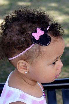 Pink Bow Minnie Mouse Headband  Baby Newborn by MissMayasBowtique, $5.00