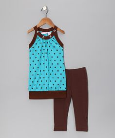 Take a look at this Blue Polka Dot Sleeveless Tunic & Leggings - Toddler & Girls by No Kidding on #zulily today!
