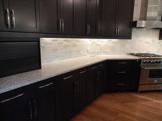 Dark Birch Kitchen Cabinets With Shining White Quartz