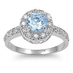 Sterling Silver Round Solitaire Aquamarine Ring Sz 4-10 103748123456