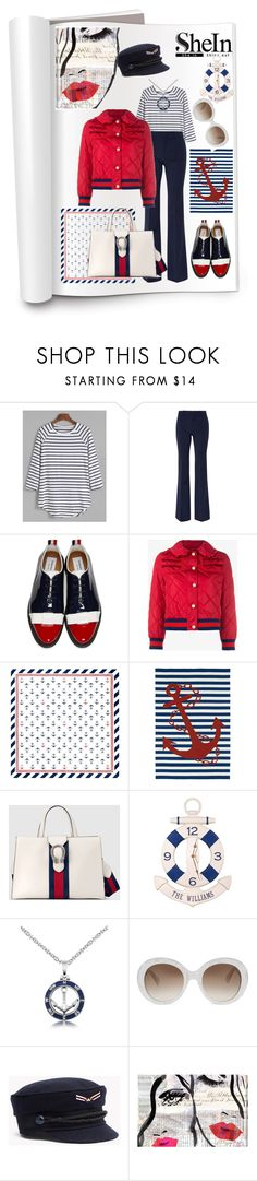 """""""Navy day"""" by green-eye ❤ liked on Polyvore featuring Gucci, Thom Browne, Home Decorators Collection, Forzieri, Oliver Gal Artist Co., crazyforfashion and shein"""