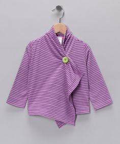 Lavender Stripe Open Cardigan - Toddler & Girls