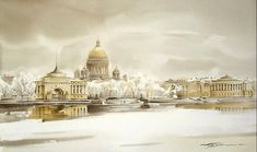 Art Aquarelle, Berlin Art, St Petersburg Russia, Watercolor Paintings, Taj Mahal, Landscape, Building, Pictures, Travel