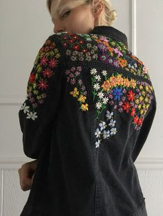 Embroiderwd jean jacket - Hand embroidered jean denim jacket brand: Forever 21 faded black denim with light stretch, pockets - Indian Embroidery Designs, Embroidery Designs Free Download, Embroidery On Kurtis, Kurti Embroidery Design, Embroidery On Clothes, Couture Embroidery, Embroidered Clothes, Embroidery Fashion, Embroidery Dress