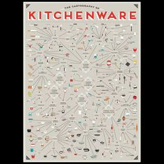 Omg! This poster was totally MADE for us. The Cartography of Kitchenware! If you're a kitchen tool nerd, get one of these up on your wall asap! https://charlesandmarie.com/en/Art-Books/Prints-Poster/The-Cartography-of-Kitchenware-Poster-by-Pop-Chart-LAB.html