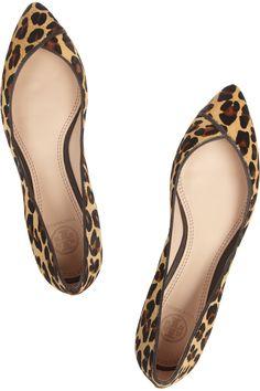 Tory Burch|Nicki leopard-print calf hair point-toe flats|NET-A-PORTER.COM