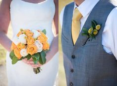 Yellow wedding flower idea: yellow + white roses for the bridal bouquet and yellow Billy Balls (Craspedia) for the groom's boutonniere. // Seven Bridges Golf Club | Elizabeth Nord Photography
