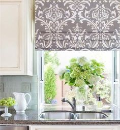 This Faux Roman Shade Storm Grey Damask Mock Valance/ Custom Sizing is just one of the custom, handmade pieces you'll find in our window treatments shops. Decor, Tuscan Kitchen, Kitchen Window, Kitchen Curtains, Decorative Curtain Rods, Windows, Faux Roman Shades, Home Decor Fabric, Curtains