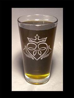 Claddagh design on a pint glass.