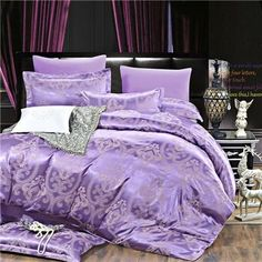 Cheap textile wallcovering, Buy Quality textil directly from China bed sheet queen size Suppliers: 2016 New Autumn home bedding set Jacquard duvet cover set bed linens luxurious bedclothes queen king size adult bed sets King Duvet Set, Queen Bedding Sets, Duvet Sets, Duvet Cover Sets, Set Cover, Purple Bedrooms, Purple Bedding, Matching Bedding And Curtains, Cheap Bed Sheets