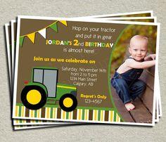 Tractor Birthday Invitation - Printable Birthday Invitation. $15.00, via Etsy.