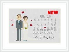Save The Date cross stitch pattern Wedding portrait от Xrestyk