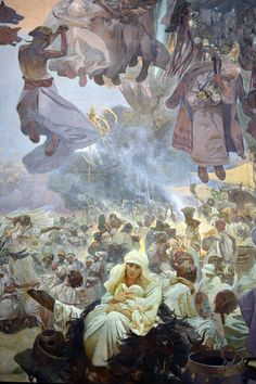 If you pass by Prague, do not miss Mucha's Slav Epic at the Museum of Modern and contemporary Art. Aphonse Mucha was one of the major Art Nouveau representative: his art applied to the Epic h… Art Deco, Art Nouveau, Theatrical Scenery, Alphonse Mucha Art, Jugendstil Design, Academic Art, Artist Art, Renaissance, New Art