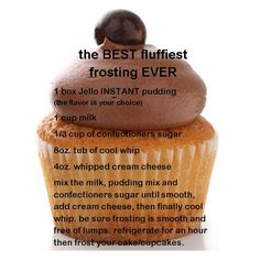 Fluffiest frosting ever ... instant pudding, milk, confectioners sugar, whipped cream cheese Cupcake Recipes, Baking Recipes, Cupcake Cakes, Dessert Recipes, Cupcake Frosting, Cupcake Ideas, Jello Frosting, Cool Whip Frosting, Fruit Recipes