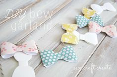 Maybe you do your own bows, without a die cut Bunting Garland, Buntings, Diy Banner, Craft Show Displays, Punch Board, Diy Bow, Paper Crafting, Creative Inspiration, Showers