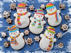 Tie-dye snowmen by Irina, posted on Cookie Connection