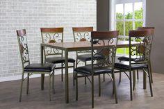 Baxton Studio Fiore Wood & Metal 7-Piece Transitional Dining Set