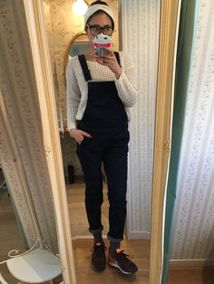 GU overalls x White spring knit