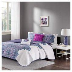 Purple Lolita Printed Quilt Set Purple. #purplebedding #lavenderbedding #beddingsets #afflnk