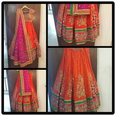 Orange, Pink & Green - Mrinalini Rao Lehengas