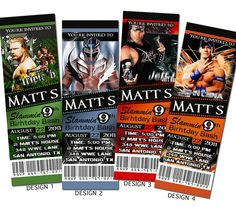 WWE Wrestling Custom Party Ticket Invitations by AAinvites on Etsy, $8.99
