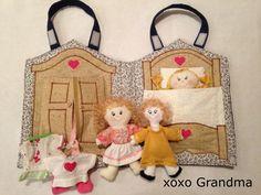 xoxo Grandma: Fabric Doll House & a Free Pattern to Make a Mini Doll