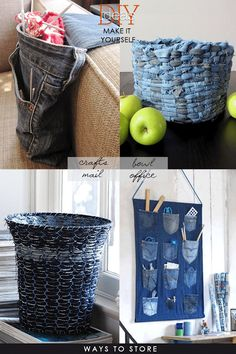 #DIY Amazing Roundup of Beautiful #Denim Crafts.I love this blog: DiaryofaCreativeFanatic The taste level is so high and everything she posts is beautifully curated with links to patterns and tutorials.