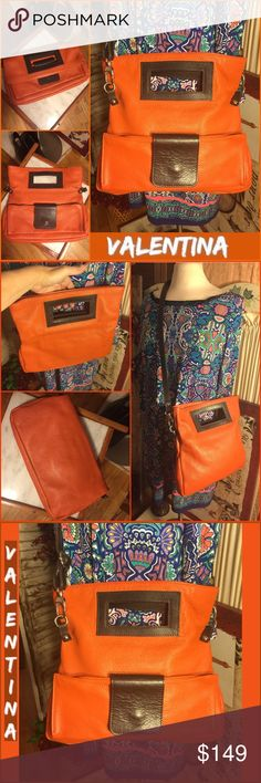 """VALENTINA ORANGE LEATHER CLUTCH/HAND/CROS-BODY BAG NWOT -VALENTINA** ORANGE PEBBLED ITALIAN LEATHER BAG. SHOWN: CLUTCH ( FOLDED OVER) 8.5"""" H BY 13"""" L BY 2"""" D. HANDBAG TOTE WITH A 3""""-5"""" HANDLE: 13"""" H BY 13"""" L BY 2"""" D. BROWN LEATHER STRAP IS REMOVABLE OR ADDED OR A MESSENGER BAG. 13"""" H BY 13"""" L BY 2"""" DEPTH. EXTERIOR FRONT ZIPPER COMPARTMENT. STRAP DROP 22"""". 3 BEAUTIFUL ITALIAN BAGS FOR THE PRICE OF ONE BAG. RETAIL $299. TAN COTTON/NYLON INTERIOR. PLEASE ASK ANY ?'s! #nwot #valentina #orange…"""