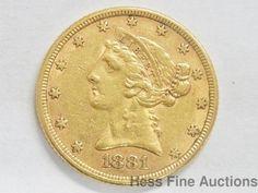 1881 $5 Coronet Half Eagle Gold Coin United States