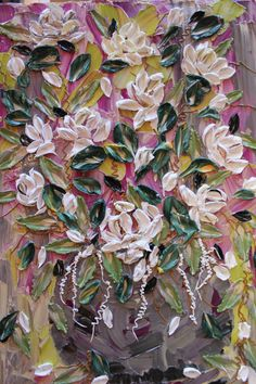 """Abstract impasto floral painting """"Rosie's Garden"""" by CreativeWomanhood"""