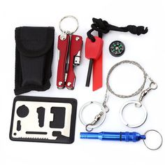 Multifunctional SOS EmergencyEquipment Tools Whistle Compass Plier Flashlight Set Outdoor Camping Hiking Box Knife Survival Gear