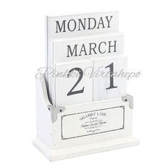 Kaunis valkoinen shabby chic ikikalenteri. Tämä kalenteri ei vanhene ikinä ja toimii samalla kauniina sisustuselementtinä.  Koko: korkeus 16cm, leveys jalustasta 12cm, syvyys 6cm