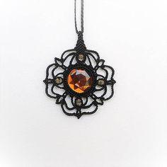 MacrameMarika / Macramé prívesok čierny Jewerly, Gypsy, Origami, Pendant Necklace, Handmade, Jewlery, Hand Made, Schmuck, Jewelry
