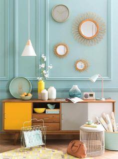 Caravan Design 344806915206186858 - tendance deco mint lemon menthe citron Source by kiwiyu Vintage Sideboard, Industrial Home Design, Yellow Interior, Style Deco, Retro Home Decor, Affordable Furniture, Home And Deco, Home Decor Inspiration, Room Decor