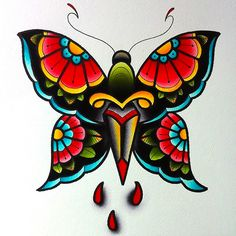 Traditional Colorful Butterfly Tattoo Design Ink A strong image of a butterfly in a diversity of col Traditional Butterfly Tattoo, Colorful Butterfly Tattoo, Traditional Tattoo Art, Butterfly Tattoo Designs, Butterfly Design, Vintage Butterfly Tattoo, Butterfly Knife, Best Tattoos For Women, Trendy Tattoos
