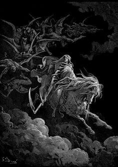 "Gustave Dore Poster - Gustave Doré ""Death on the Pale Horse""- The Vision of Death - Devil - Lucifer - Satan - Occult Art - Death Dark Fantasy Art, Dark Art, Printable Poster, Roi Arthur, Pale Horse, Satanic Art, Esoteric Art, Arte Obscura, Occult Art"