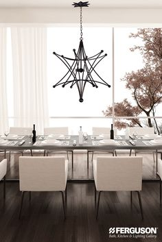 Showcase your beautiful Thanksgiving dinner feast under the glow of this equally beautiful @crystorama chandelier. The clean lines and crisp edges of this on-trend geometric shape mixes well with many design styles from traditional to contemporary.